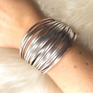 Genuine Leather Silver Boho Western Wrap Bracelet